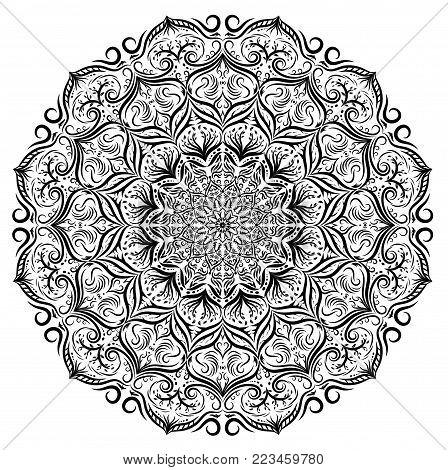 Black and white vector mandala lace floral pattern background. Monochrome vector lace mandala with flower leaves, floral ornament. Decoration lace mandala. Art decorative element