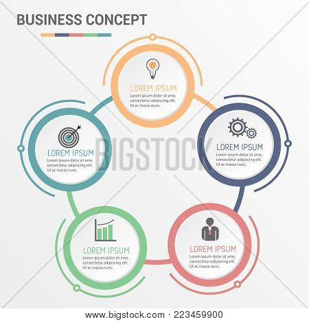 Vector infographic circle template with 5 steps, parts, options, sectors, stages. Can be used for graph, pie chart, workflow layout, cycling diagram, brochure, report presentation web design