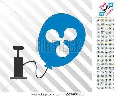 Pump Ripple Balloon pictograph with 7 hundred bonus bitcoin mining and blockchain pictographs. Vector illustration style is flat iconic symbols designed for crypto-currency apps.