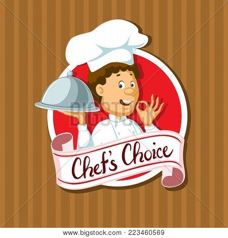 chef choice label with silver tray flat design - vector illustration