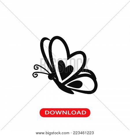 Butterfly icon vector in modern flat style for web, graphic and mobile design. Butterfly icon vector isolated on white background. Butterfly icon vector illustration, editable stroke and EPS10. Butterfly icon vector simple symbol for app, logo, UI.