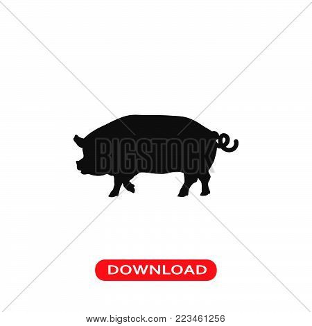 Pig icon vector in modern flat style for web, graphic and mobile design. Pig icon vector isolated on white background. Pig icon vector illustration, editable stroke and EPS10. Pig icon vector simple symbol for app, logo, UI.