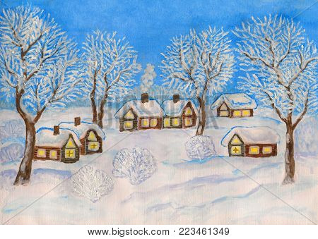 Hand painted Christmas illustration, watercolor and white gouache, winter landscape with village houses and trees on blue sky.