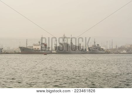 three old war ship in the Varna harbor , Bulgaria