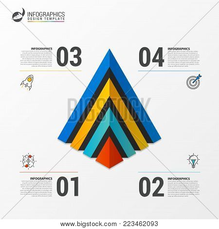 Pyramid infographic template with four steps. Vector illustration