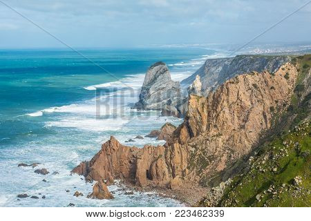 Cabo da roca, the western point of Europe, Portugal.