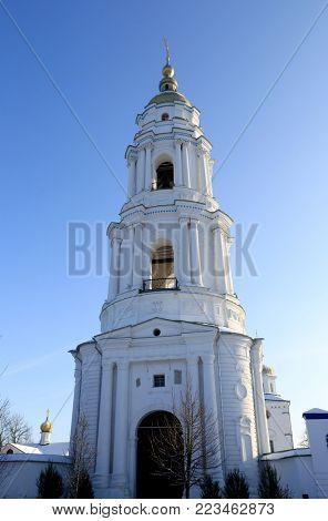 Bell tower in Exaltation of the Cross Monastery. Ukraine, Poltava City
