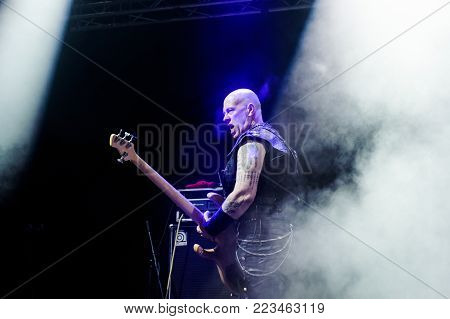 TOLMIN, SLOVENIA - JULY 24TH: BASS PLAYER DEMOLITION MAN FROM BAND VENOM INC. PERFORMING AT METALDAYS FESTIVAL ON JULY 24TH, 2018 IN TOLMIN, SLOVENIA