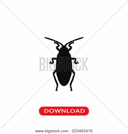 Roach icon vector in modern flat style for web, graphic and mobile design. Roach icon vector isolated on white background. Roach icon vector illustration, editable stroke and EPS10. Roach icon vector simple symbol for app, logo, UI.