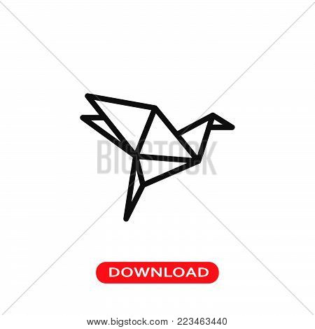 Origami bird icon vector in modern flat style for web, graphic and mobile design. Origami bird icon vector isolated on white background. Origami bird icon vector illustration, editable stroke and EPS10. Origami bird icon vector simple symbol for app, logo