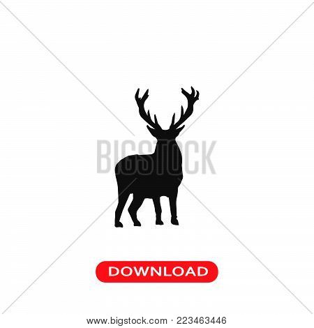Deer icon vector in modern flat style for web, graphic and mobile design. Deer icon vector isolated on white background. Deer icon vector illustration, editable stroke and EPS10. Deer icon vector simple symbol for app, logo, UI.