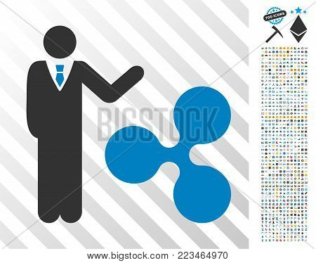 Businessman Show Ripple pictograph with 7 hundred bonus bitcoin mining and blockchain pictographs. Vector illustration style is flat iconic symbols designed for blockchain apps.
