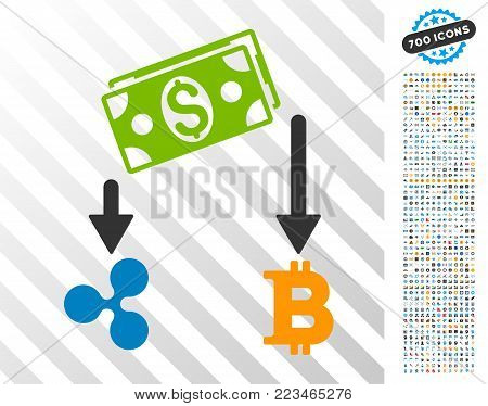 Cryptocurrency Cashflow pictograph with 7 hundred bonus bitcoin mining and blockchain pictures. Vector illustration style is flat iconic symbols designed for bitcoin software.