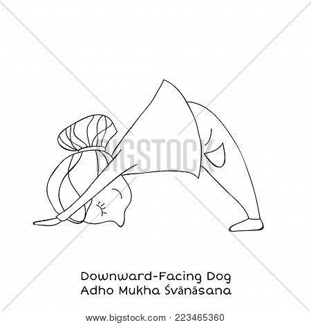 Cute little girl is practicing yoga. Kid in downward-facing dog pose. Cartoon Vector illustration