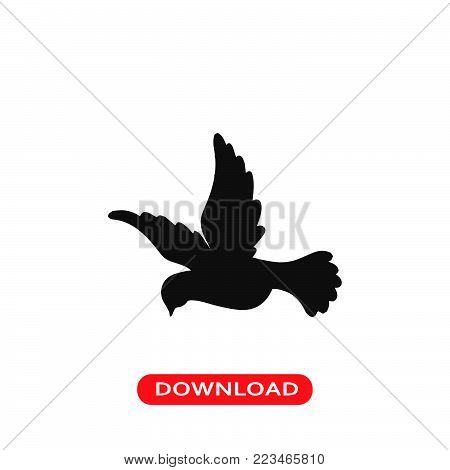 Flying dove icon vector in modern flat style for web, graphic and mobile design. Flying dove icon vector isolated on white background. Flying dove icon vector illustration, editable stroke and EPS10. Flying dove icon vector simple symbol for app, logo, UI