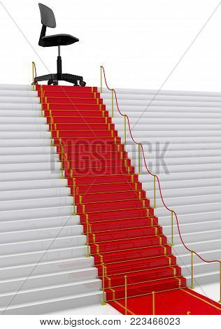 Coveted vacancy. Black office chair on top of stairs with a red carpet and fencing posts. 3D Illustration