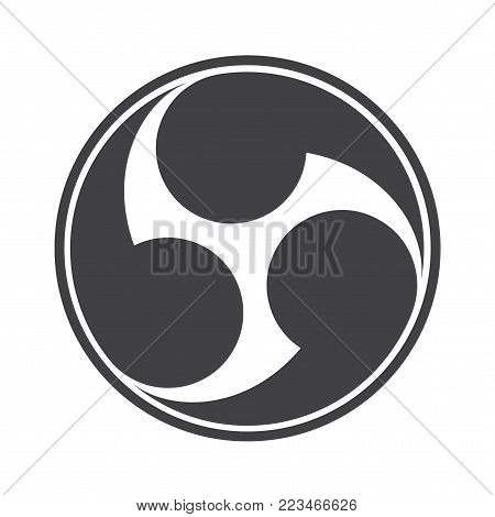 Vector illustration: Tomoe or Tomowe a Japanese symbol or icon is widely accepted as the symbol of Shinto. Rightwise Threefold Tomoe, known as Mitsudomoe the usual form of a Magatama.