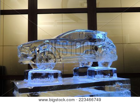 Transparent Scale Model Of The Car Made From Ice