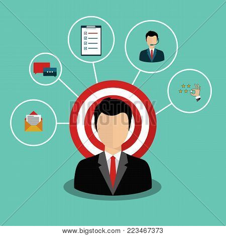 Male presenting customer relationship management. System for managing interactions with current and future customers. Flat vector illustration.
