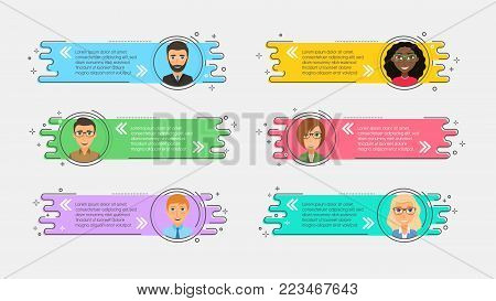 Flat linear promotion ribbons with avatars and quotation. Vector illustration