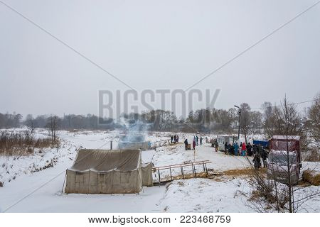 Village Vvedenye, Ivanovo region, Russia - 01/20/2018: A place equipped for bathing on the Feast of the Epiphany 20.01.2018 in the village of Vvedennye, Ivanovo region, Russia.