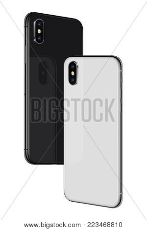 Similar to iPhone X smartphones back sides soaring in the air. Black and white rotated frameless smartphones back sides hovering in the air turned towards each other. Isolated on white background. 3D illustration.