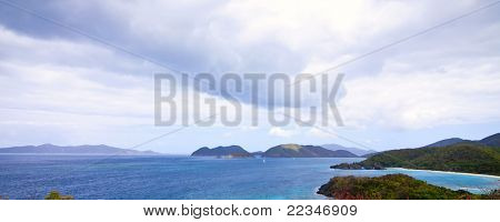 panoramic overhead view of trunk bay, us virgin islands