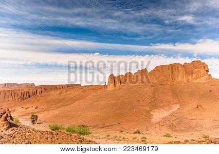 View on rock landscape by Atlas mountain in Morocco