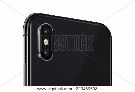 Similar to iPhone X rotated smartphone backside closeup. New modern rotaded black smartphone back side with camera module isolated on white background. 3D illustration.