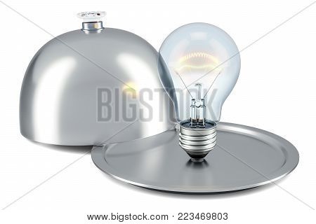 Restaurant cloche with lightbulb, new idea concept. 3D rendering isolated on white background
