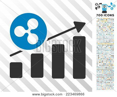 Ripple Growing Bar Chart icon with 700 bonus bitcoin mining and blockchain clip art. Vector illustration style is flat iconic symbols designed for cryptocurrency websites.