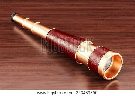 Spyglass, brass hand held telescope on the wooden table. 3D rendering