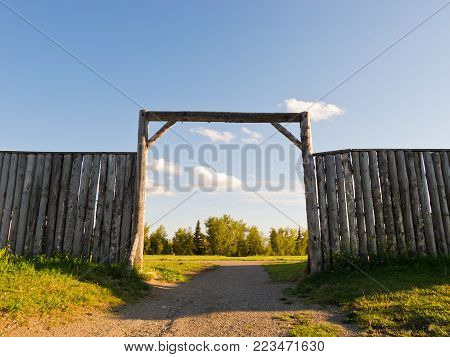 Wooden wall and gate of an old fort, Calgary, Alberta, Canada