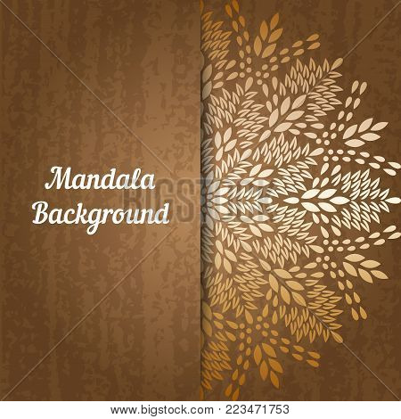 Mandala, abstract tibetan flower background. Indian medallion pattern. Vintage bohemian design. Vector art henna ornament