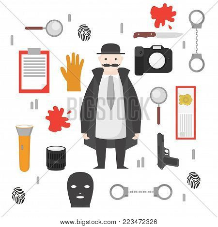 Detective occupation character design, cartoon flat style. Design elements and icons. Man character.