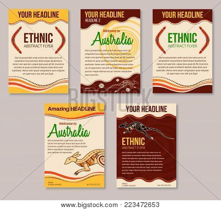 Set of abstract colorful flyers. Ethnic style brochure templates. Aboriginal style. Australian style. Vector abstract illustrations.
