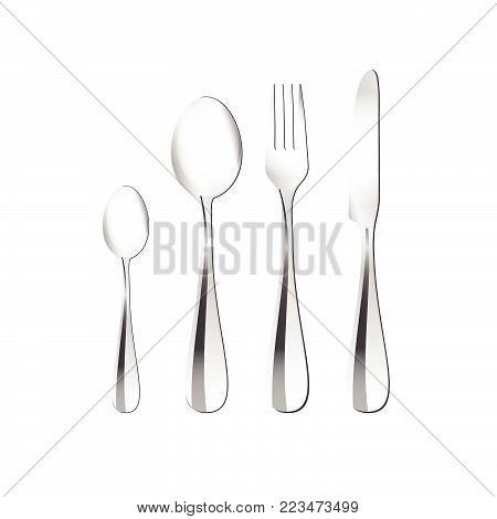 cutlery illustration in silver for table in restaurant
