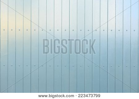 Wooden light blue background. Vertical blank boards with details. Close up, space for text, banner.