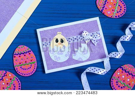 Making Easter greeting card. Art project. DIY concept. Step by step photo instructions. Step 7. Final result