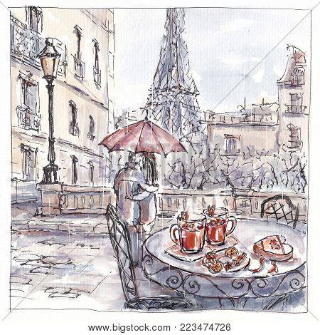 Watercolor sketch of romantic couple in Paris under red umbrella on rainy day, table with mulled wine and present, hand drawn picture