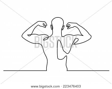 Continuous Line Drawing. Strong Athletic man. Vector Illustration