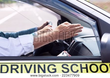 Driving school. Learning to drive a car. Driver education.