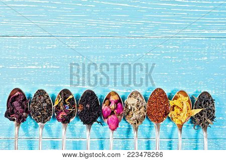 Various kinds of tea in spoons on blue wooden background. Dry Tea assortment. Top view, copyspace.