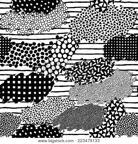 Irregular patchwork pattern. Seamless hand drawn background. Striped and dotted doodle graphic print. Chaotic vector illustration