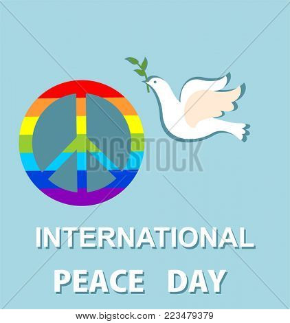 Blue greeting card with paper cut out dove and peace symbol with rainbow for International Peace day. Flat design