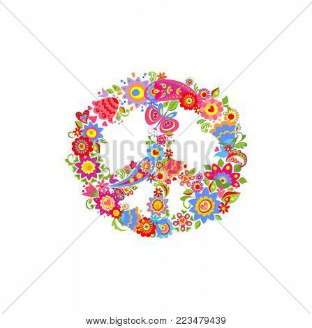 Peace flower symbol with funny colorful abstract flowers and paisley