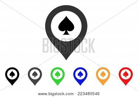 Casino Map Marker icon. Vector illustration style is a flat iconic casino map marker symbol with gray, yellow, green, blue, red, black color versions. Designed for web and software interfaces.