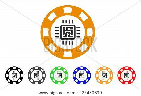 Cpu Casino Chip icon. Vector illustration style is a flat iconic cpu casino chip symbol with grey, yellow, green, blue, red, black color versions. Designed for web and software interfaces.