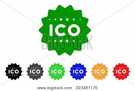 Ico Token icon. Vector illustration style is a flat iconic ico token symbol with grey, yellow, green, blue, red, black color versions. Designed for web and software interfaces.