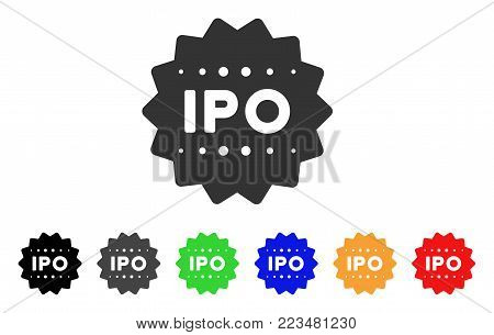 Ipo Token icon. Vector illustration style is a flat iconic ipo token symbol with gray, yellow, green, blue, red, black color variants. Designed for web and software interfaces.